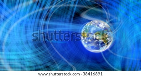 Digitally Generated Image of light and wave pattern with globe - stock photo