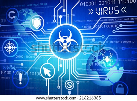 Digitally Generated Image of Online Virus Concept - stock photo