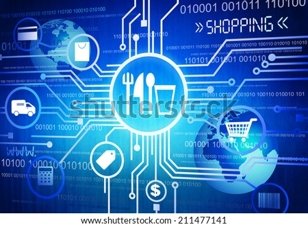 Digitally Generated Image of Shopping Concept - stock photo