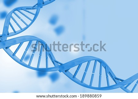 Digitally generated medical background with blue dna helix