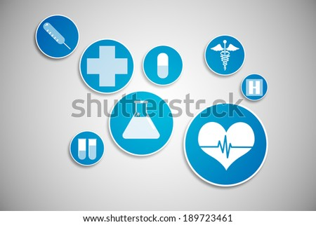 Digitally generated medical icons in blue and white