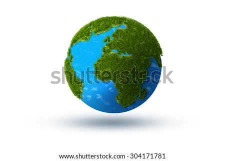 Digitally generated planet earth image made with grass. Isolated on a white background. - stock photo