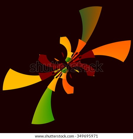 Digitally generated psychedelic graphic. Curvy flat effect. Funky artsy decor. Visual arts picture. Obscure odd fiction. Full frame rendering. Repetitive weird pic. Bizarre cartoon style poster. - stock photo