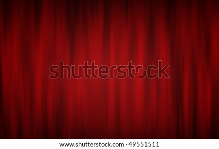 Digitally generated red theatre curtains on black