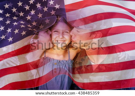 Digitally generated united states national flag against soldier couple reunited with their daughter - stock photo