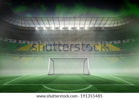 Digitally generated vast football stadium for world cup - stock photo