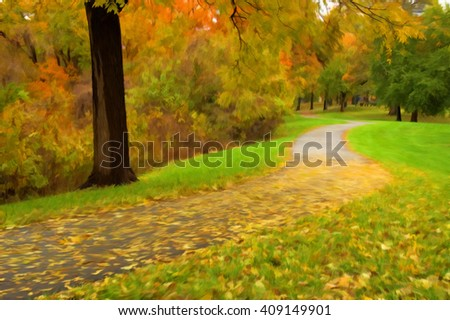 Digitally hand painted photo of a park path in the autumn. - stock photo
