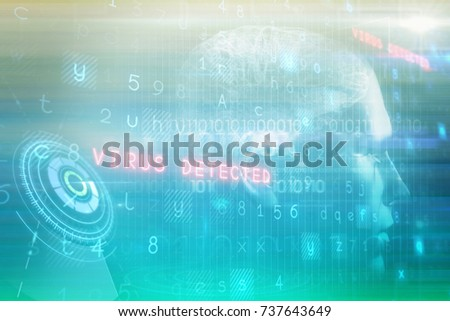 Digitally image of brain interface against turquoise abstract backgrounds