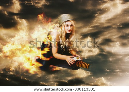 Digitally manipulated artwork of a pin up army girl launching into action on a military missile when making a pre-emptive strike during hostile war conditions. Kamakazi bomber - stock photo