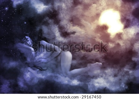Digitally painted illustration of night symbolically personified as a woman sleeping on clouds as the sun rises in the background - stock photo