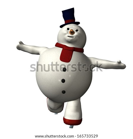 Digitally rendered illustration of a skating snowman on white background. - stock photo