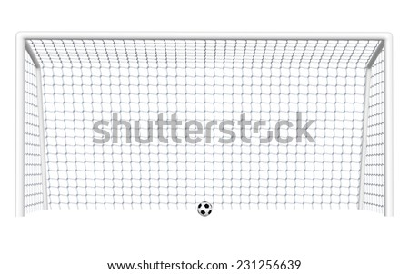 Digitally rendered illustration of a soccer goal and ball white background. - stock photo