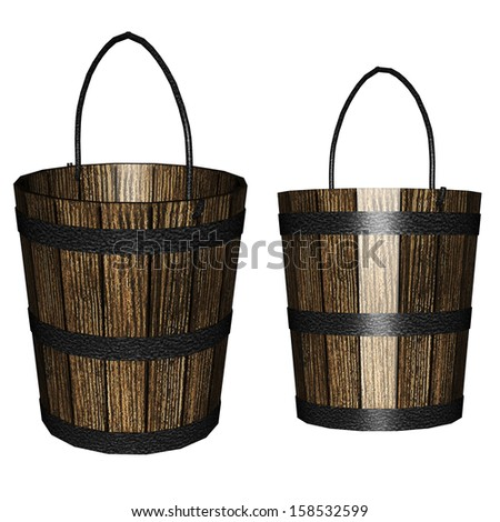 Digitally rendered illustration of an old wooden bucket on white background. - stock photo