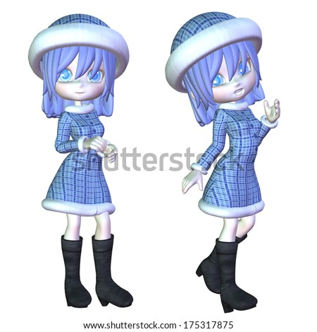 Digitally rendered image of a cute cartoon winter girl. - stock photo