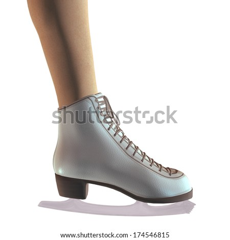 Digitally rendered image of a female legs in ice skates of white color.