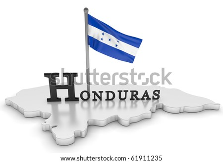 Digitally rendered scene with flag and log/Honduras Tribute
