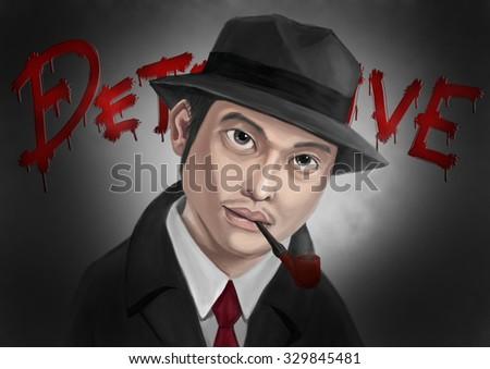 Digitalpaint Detective man smoking in the fog - stock photo
