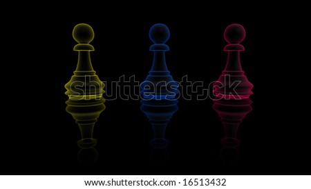 Digitaly created chess pawn in x-ray. - stock photo