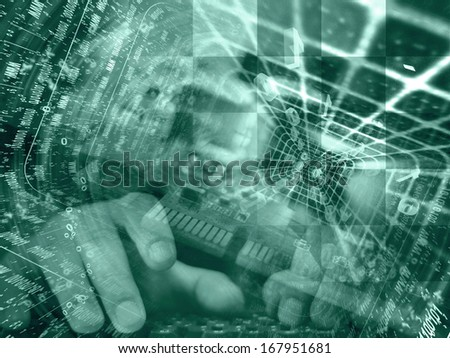 Digits and hands - abstract computer background in greens. - stock photo