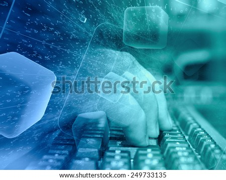 Digits and keyboard - abstract computer background, in greens and blues. - stock photo