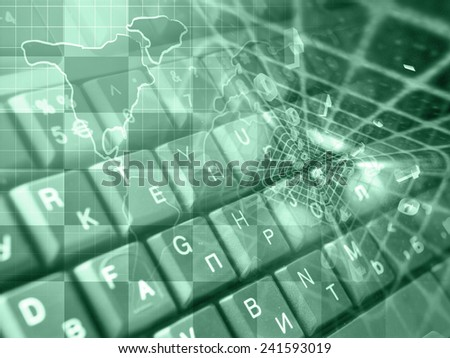 Digits and map - abstract computer background, green toned. - stock photo