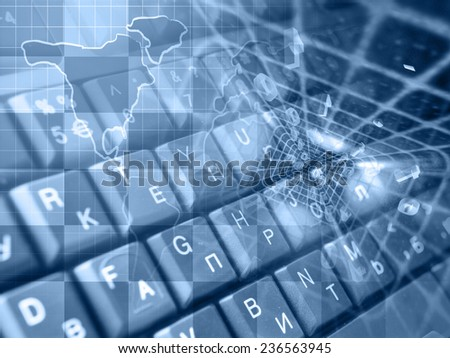 Digits and map - abstract computer background in blues. - stock photo