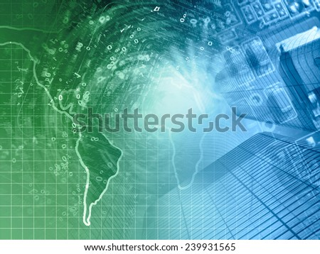 Digits and map - abstract computer background in greens and blues. - stock photo