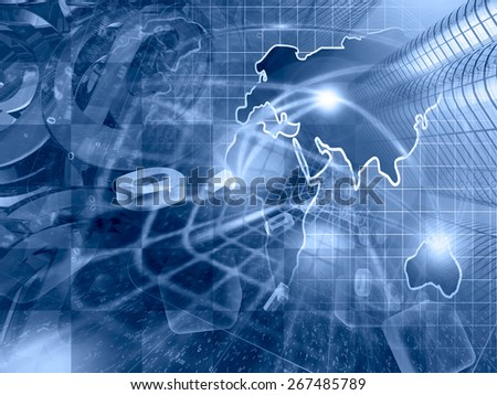 Digits, buildings and map - abstract computer background in blues. - stock photo