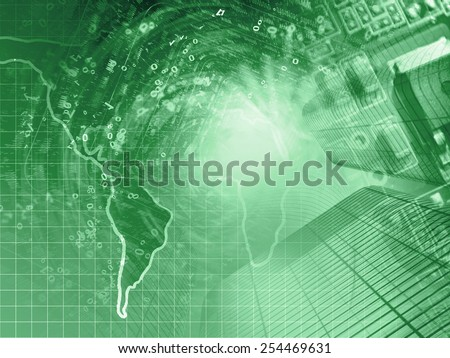 Digits, buildings and map - abstract computer background in greens.