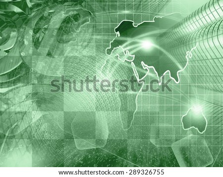 Digits, buildings and map - abstract computer background in greens. - stock photo