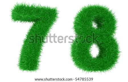 Digits from a grass isolated on a white background