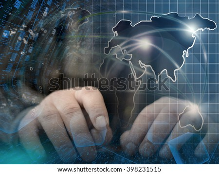 Digits, hands and map - abstract computer background. - stock photo