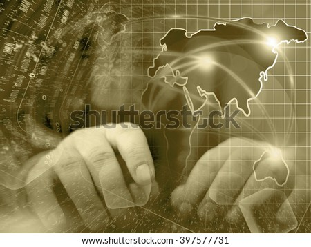 Digits, hands and map - abstract computer background in sepia. - stock photo