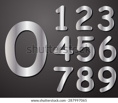 Digits in silver from 0 to 9, illustration