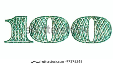 Digits, isolated on white. Fragment of $100 banknote. - stock photo