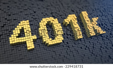 Digits '401k' of the yellow square pixels on a black matrix background. Pension program concept. - stock photo