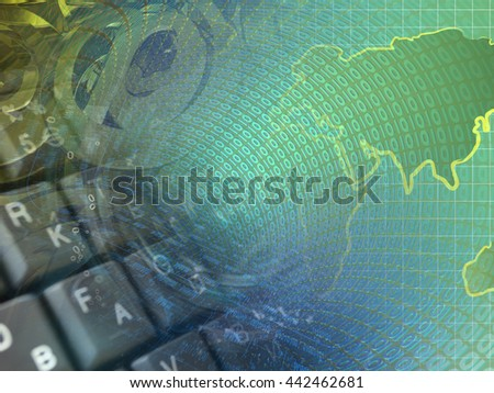 Digits, keyboard and map - abstract computer background. - stock photo