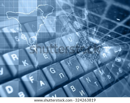 Digits, keys and map - abstract computer background in blues. - stock photo