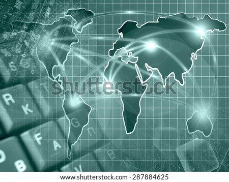 Digits, keys and map - abstract computer background in greens. - stock photo