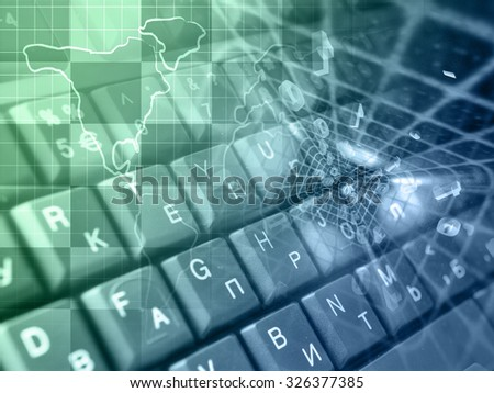 Digits, keys and map - abstract computer background in greens and blues. - stock photo