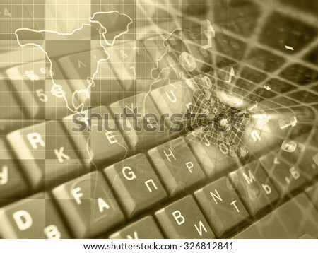 Digits, keys and map - abstract computer background in sepia. - stock photo