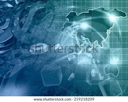 Digits, mail signs and map - abstract computer background, in greens and blues. - stock photo