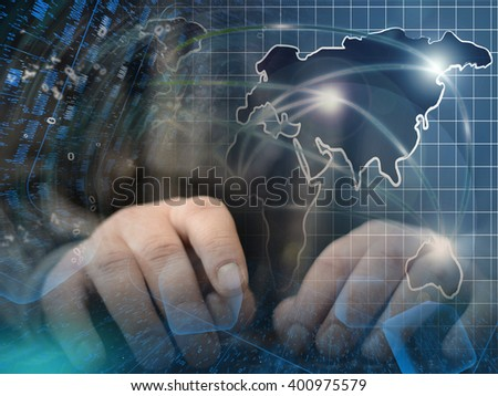 Digits, map and hands - abstract computer background. - stock photo