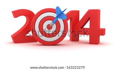 Digits of new year 2014 with small dartboard on white background - stock photo