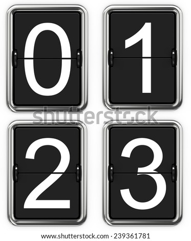 Digits 0 1 2 3. Set of Digits on Mechanical Scoreboard - Thin Font. - stock photo