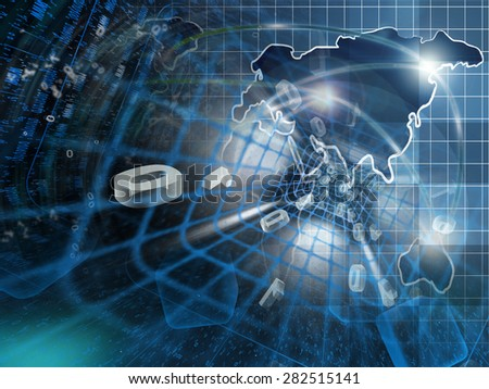 Digits, tunnel and map - abstract computer background. - stock photo