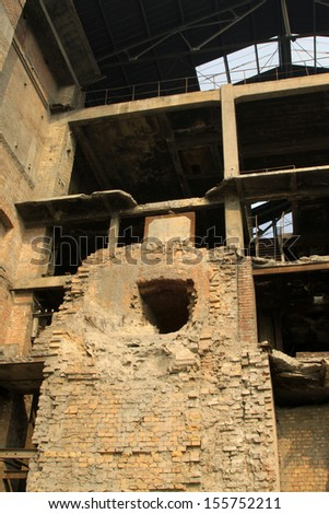 dilapidated building in a factory, closeup of photo