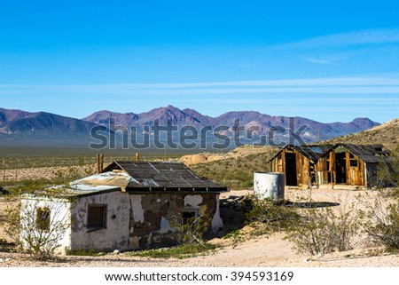 Dilapidated buildings in Rhyolite Ghost Town, Nevada, BLM owned - stock photo