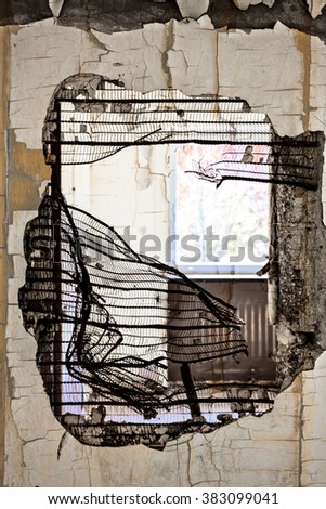 dilapidated house - stock photo
