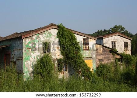 Dilapidated houses - stock photo